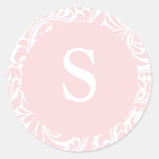 Monogram S Blush Color Invitation Seals For Weddin Sticker