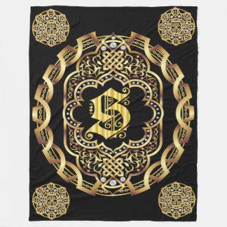 Monogram S CUSTOMIZE To Change Background Color Fleece Blanket