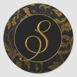 Monogram S Gold and Black Damask Wedding Seal Classic Round Sticker