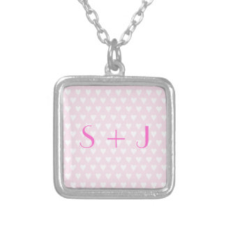 Monogram S sweethearts initials pink love hearts Square Pendant Necklace