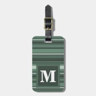 Monogram sage green stripes luggage tag