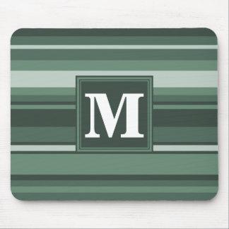 Monogram sage green stripes mouse pad