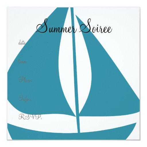 Monogram Sail Boat 5.25x5.25 Square Paper Invitation Card