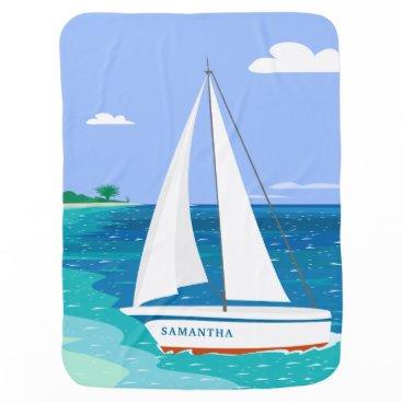 Beach Themed Monogram Sailboat Coastal Tropical Baby Blanket