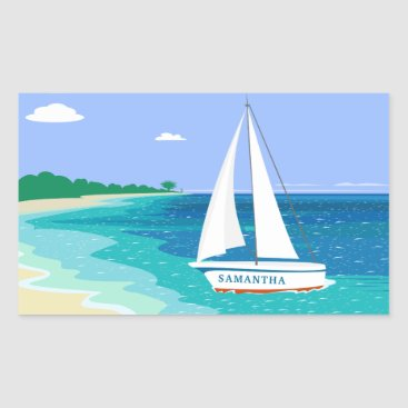 Beach Themed Monogram Sailboat Coastal Tropical Beach Stickers