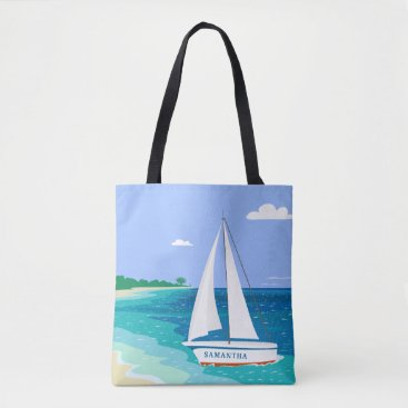 Beach Themed Monogram Sailboat Coastal Tropical Beach Tote Bag