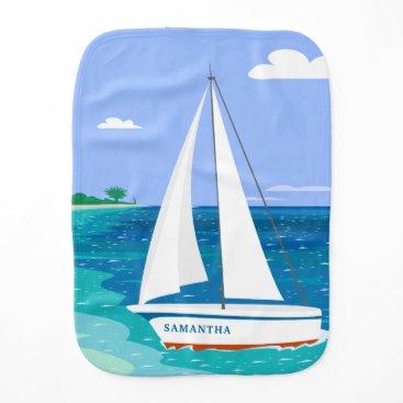 Beach Themed Monogram Sailboat Coastal Tropical Burp Cloth