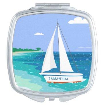 Beach Themed Monogram Sailboat Coastal Tropical Compact Mirror