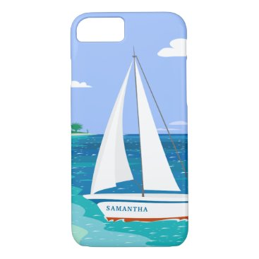 Beach Themed Monogram Sailboat Coastal Tropical iPhone 7 Case
