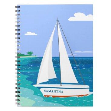 Beach Themed Monogram Sailboat Coastal Tropical Notebook