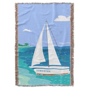 Beach Themed Monogram Sailboat Coastal Tropical Throw Blanket