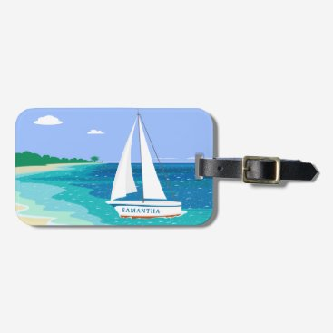 Beach Themed Monogram Sailboat Tropical Beach Luggage Tag