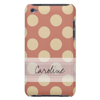 Monogram Salmon Pink Beige Chic Polka Dot Pattern Case-Mate iPod Touch Case