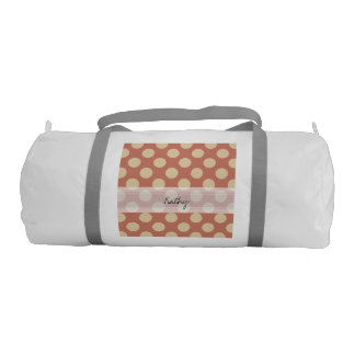 Monogram Salmon Pink Beige Chic Polka Dot Pattern Duffle Bag