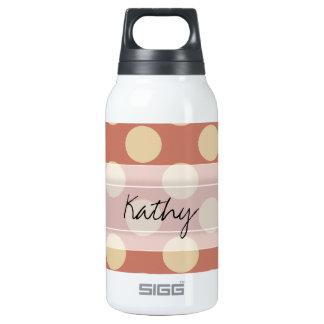 Monogram Salmon Pink Beige Chic Polka Dot Pattern Insulated Water Bottle