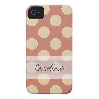 Monogram Salmon Pink Beige Chic Polka Dot Pattern iPhone 4 Case-Mate Case