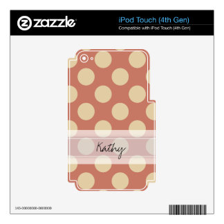 Monogram Salmon Pink Beige Chic Polka Dot Pattern iPod Touch 4G Decal