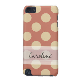 Monogram Salmon Pink Beige Chic Polka Dot Pattern iPod Touch 5G Cover