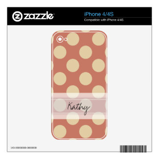 Monogram Salmon Pink Beige Chic Polka Dot Pattern Skins For iPhone 4