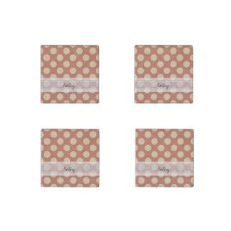 Monogram Salmon Pink Beige Chic Polka Dot Pattern Stone Magnet
