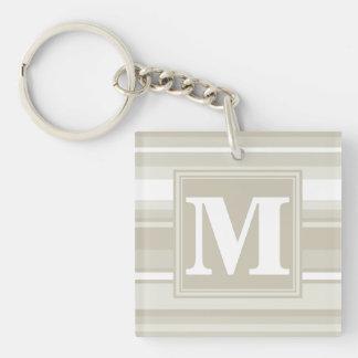Monogram sandstone stripes keychain