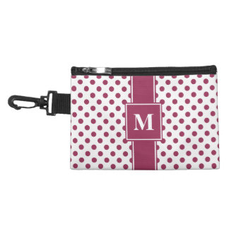 Monogram Sangria Pink on White Polka Dots Accessory Bag