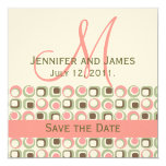 "Monogram Save Date Announcement Ivory Green Pink 5.25"" Square Invitation Card"