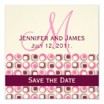 "Monogram Save Date Announcement Ivory Wine Pink 5.25"" Square Invitation Card"