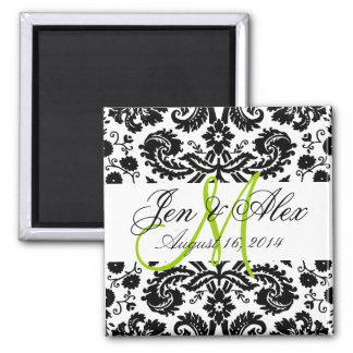 Monogram Save the Date Paisley Magnet Green