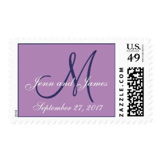 Monogram Save the Date Purple Wedding Postage