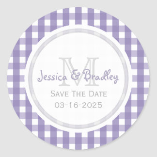 Monogram Save The Date Stickers Gingham PW