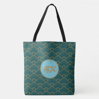 Monogram Scallop Blue Green Teal Gold Circle Tote Bag