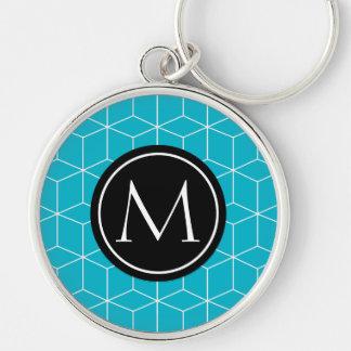 Monogram Scuba Blue Silver-Colored Round Keychain