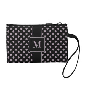 Monogram Sea Fog on Black Polka Dots Coin Wallet
