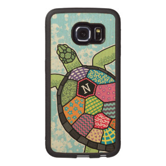 Monogram Sea Turtle Colorful Patchwork Pattern Wood Phone Case
