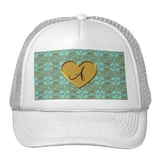 Monogram seafoam green gold moroccan damask trucker hat