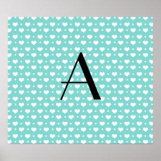 Monogram seafoam green hearts polka dots print