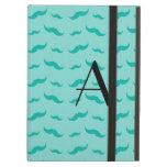 Monogram seafoam green mustache pattern iPad covers