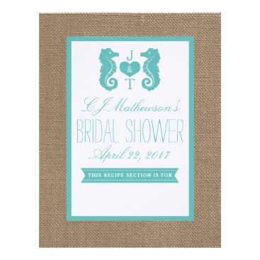 Beach Themed Monogram Seahorse Bridal Shower Recipe Divider Letterhead