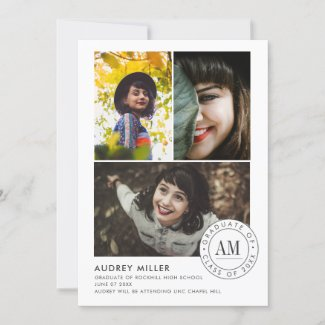 Monogram Seal Modern Photo Collage Graduation Announcement