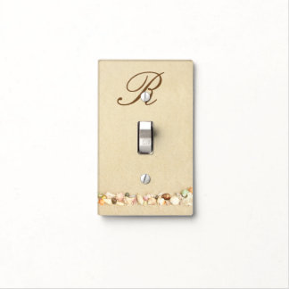 Monogram light switch covers zazzle monogram seashells on beach sand personalized light switch cover sciox Image collections
