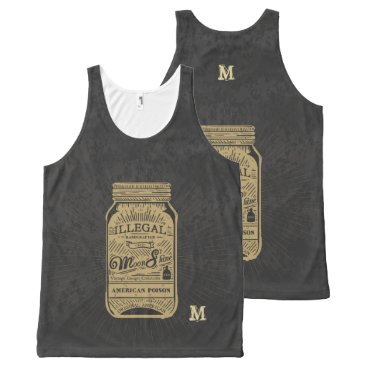 USA Themed Monogram Series: Americana Moonshine. All-Over-Print Tank Top