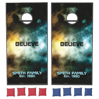 Monogram Series: Believe You Can Shoot It In Space Cornhole Set