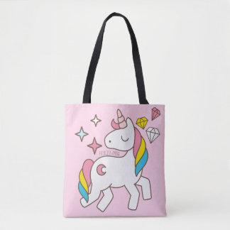 Monogram Series: Cute Unicorns Stars & Diamonds Tote Bag