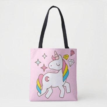 produkto Monogram Series: Cute Unicorns Stars & Diamonds Tote Bag
