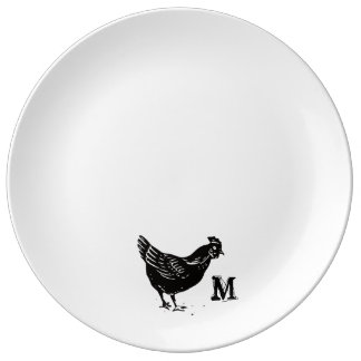Monogram Series: Farm Chicken Silhouette Porcelain Plate