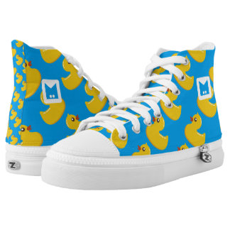Monogram Series: Kawaii Cute Rubber Ducks. High-Top Sneakers