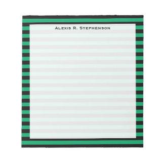 Monogram Shamrock Green and Black Stripe Notepad
