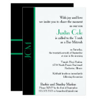 Monogram Shamrock Green Black Bar Mitzvah Card