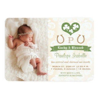Monogram Shamrock & Horseshoe Birth Announcement